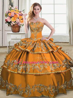 Brown Sweetheart Neckline Embroidery and Ruffled Layers Sweet 16 Quinceanera Dress Sleeveless Lace Up
