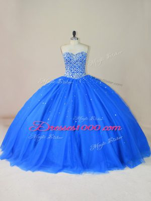 Sweetheart Sleeveless Lace Up Quinceanera Dress Blue Tulle
