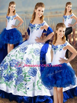 Modern Floor Length Blue And White Quinceanera Gown Satin Sleeveless Embroidery
