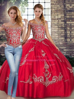 Beautiful Red Two Pieces Tulle Off The Shoulder Sleeveless Beading and Embroidery Floor Length Lace Up Sweet 16 Quinceanera Dress