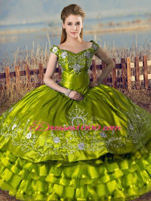 Cute Embroidery and Ruffled Layers Sweet 16 Quinceanera Dress Olive Green Lace Up Sleeveless Floor Length