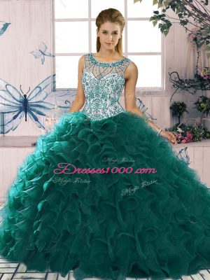 Trendy Organza Sleeveless Floor Length Quinceanera Dresses and Beading and Ruffles