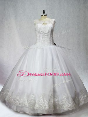 Organza Scoop Sleeveless Lace Up Beading and Appliques 15th Birthday Dress in White
