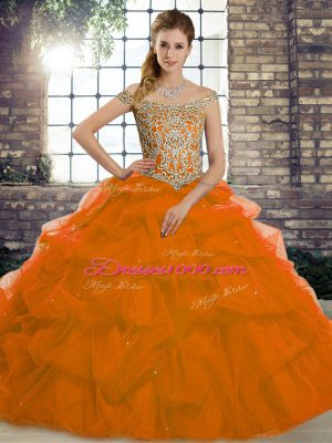 Trendy Tulle Off The Shoulder Sleeveless Brush Train Lace Up Beading and Pick Ups Quinceanera Gowns in Rust Red