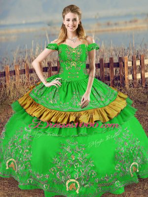 Smart Green Off The Shoulder Neckline Embroidery Quinceanera Dresses Sleeveless Lace Up
