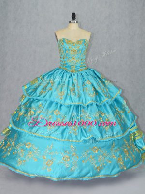 Low Price Sweetheart Sleeveless Lace Up 15 Quinceanera Dress Baby Blue Satin and Organza