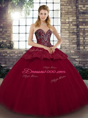 New Arrival Ball Gowns Quinceanera Gowns Burgundy Sweetheart Tulle Sleeveless Floor Length Lace Up