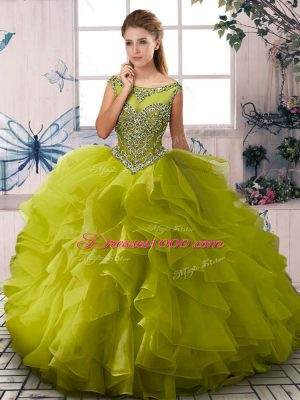 Olive Green Sleeveless Floor Length Beading and Ruffles Zipper Ball Gown Prom Dress