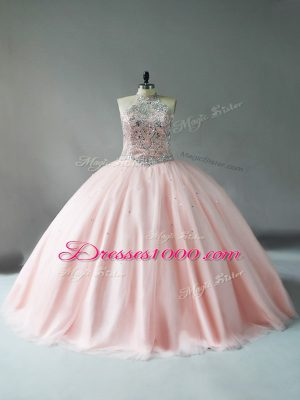 Flare Halter Top Sleeveless Quinceanera Dresses Pink Tulle