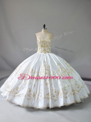 Elegant Floor Length Lace Up Ball Gown Prom Dress White for Sweet 16 and Quinceanera with Embroidery