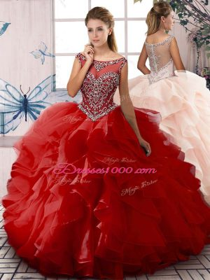 Fancy Red Sleeveless Floor Length Beading and Ruffles Zipper Quince Ball Gowns