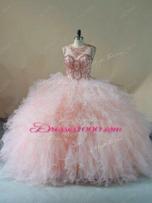Custom Fit Tulle Sleeveless 15th Birthday Dress Brush Train and Beading and Ruffles