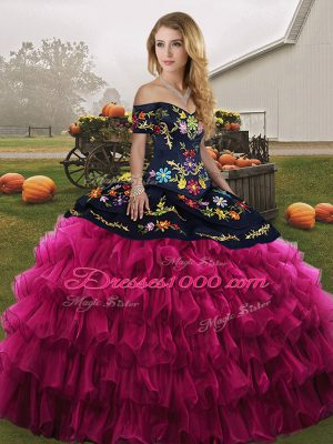 Fancy Embroidery and Ruffled Layers Sweet 16 Quinceanera Dress Fuchsia Lace Up Sleeveless Floor Length