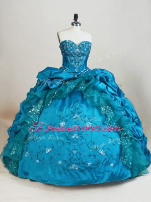 Low Price Floor Length Teal Quince Ball Gowns Taffeta Sleeveless Beading and Embroidery and Pick Ups