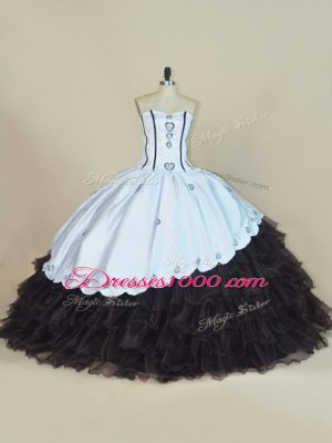 Glittering Sweetheart Sleeveless Satin and Organza 15th Birthday Dress Embroidery and Ruffled Layers Lace Up