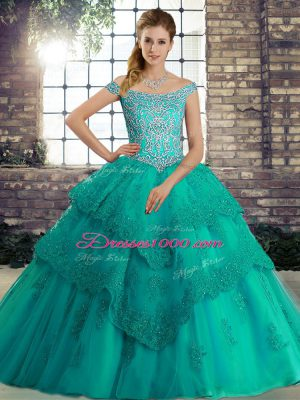 Colorful Off The Shoulder Sleeveless Tulle Sweet 16 Dresses Beading and Lace Brush Train Lace Up