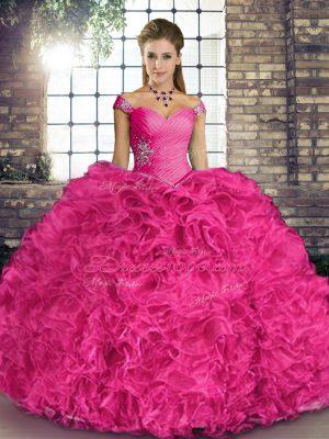 Sleeveless Beading and Ruffles Lace Up Vestidos de Quinceanera