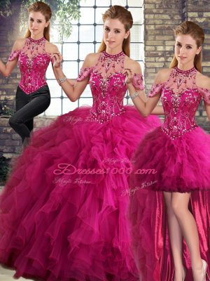 Fantastic Fuchsia Lace Up Sweet 16 Quinceanera Dress Beading and Ruffles Sleeveless Floor Length