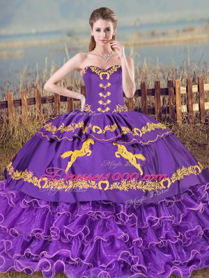 Customized Purple Sweetheart Lace Up Embroidery and Ruffled Layers Sweet 16 Quinceanera Dress Sleeveless