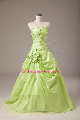 Yellow Green Sleeveless Organza Lace Up Quince Ball Gowns for Sweet 16 and Quinceanera