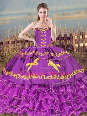 Fashionable Sweetheart Sleeveless Lace Up 15 Quinceanera Dress Purple Organza