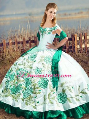 Luxurious Green Off The Shoulder Lace Up Embroidery and Ruffles Sweet 16 Dress Sleeveless