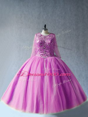 Long Sleeves Floor Length Beading Lace Up Sweet 16 Quinceanera Dress with Lilac