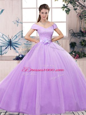 Floor Length Lace Up 15th Birthday Dress Lavender for Military Ball and Sweet 16 and Quinceanera with Lace and Hand Made Flower