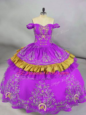 Modest Purple Off The Shoulder Neckline Embroidery Sweet 16 Quinceanera Dress Sleeveless Lace Up