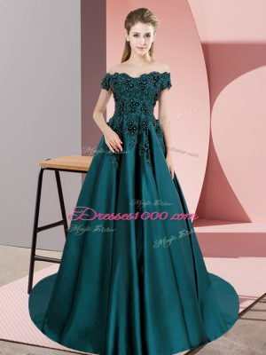 Custom Designed Teal Satin Zipper Sweet 16 Dresses Sleeveless Floor Length Court Train Lace