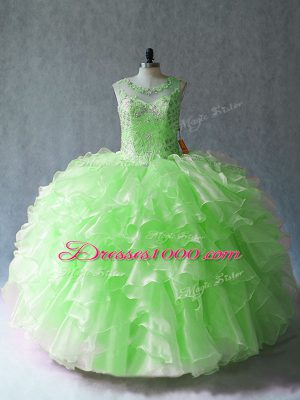 Beautiful Sleeveless Organza Floor Length Lace Up Sweet 16 Dress in with Beading and Ruffles