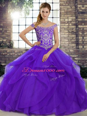 Sophisticated Sleeveless Tulle Brush Train Lace Up 15th Birthday Dress in Purple with Beading and Ruffles