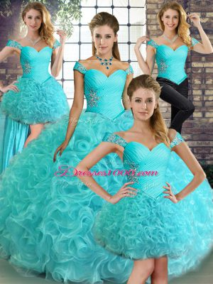 Best Aqua Blue Sleeveless Beading Floor Length 15th Birthday Dress