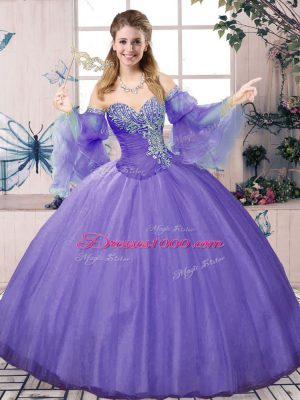 Tulle Sweetheart Sleeveless Lace Up Beading Quinceanera Gowns in Lavender