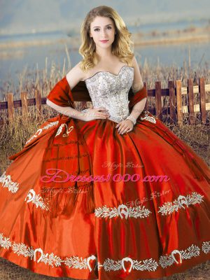 Enchanting Orange Red Sleeveless Beading and Embroidery Floor Length Ball Gown Prom Dress