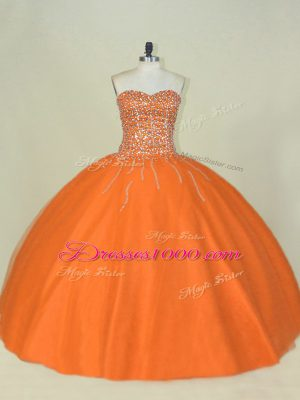 Colorful Floor Length Orange Sweet 16 Dress Sweetheart Sleeveless Lace Up