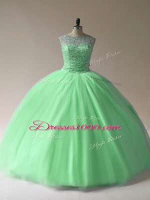 Latest Tulle Scoop Sleeveless Lace Up Beading Vestidos de Quinceanera in