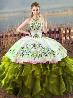 Ball Gowns 15 Quinceanera Dress Olive Green Halter Top Organza Sleeveless Floor Length Lace Up