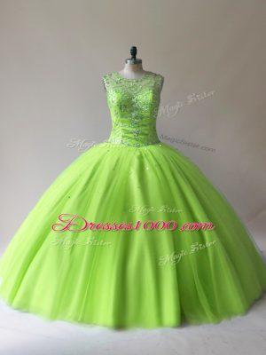 Superior Floor Length 15th Birthday Dress Tulle Sleeveless Beading
