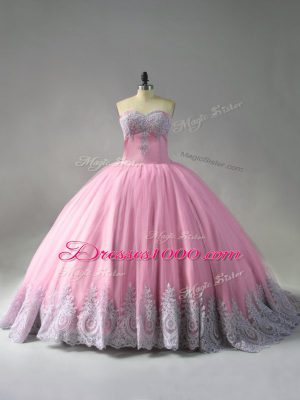 Pink Sweetheart Neckline Beading and Appliques Sweet 16 Quinceanera Dress Sleeveless Lace Up