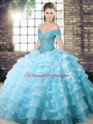 Stylish Aqua Blue Ball Gowns Organza Off The Shoulder Sleeveless Beading and Ruffled Layers Lace Up Quinceanera Dresses Brush Train