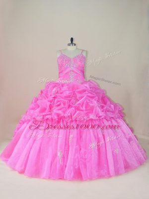 Glorious Baby Pink Ball Gowns Straps Sleeveless Organza and Taffeta Brush Train Lace Up Beading and Appliques and Pick Ups Sweet 16 Quinceanera Dress
