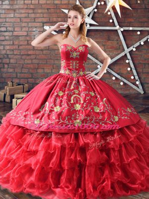 Red Organza Sweet 16 Dresses Embroidery and Ruffled Layers