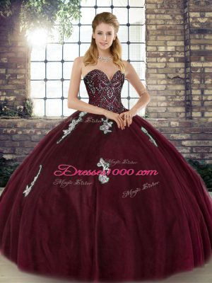 Custom Designed Tulle Sleeveless Floor Length Sweet 16 Dresses and Beading and Appliques