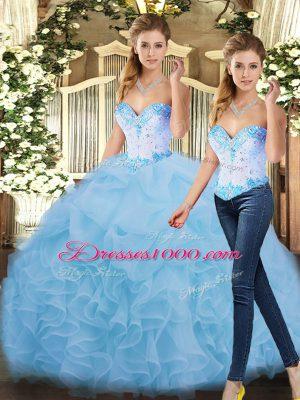 Blue Sleeveless Beading and Ruffles Floor Length Vestidos de Quinceanera