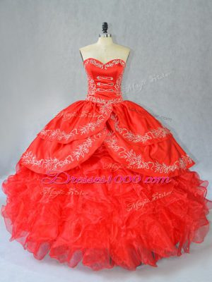 Pretty Red Ball Gowns Sweetheart Sleeveless Organza Floor Length Side Zipper Embroidery and Ruffles Sweet 16 Dresses
