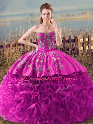 Sumptuous Fuchsia Sleeveless Fabric With Rolling Flowers Brush Train Lace Up 15th Birthday Dress for Sweet 16 and Quinceanera
