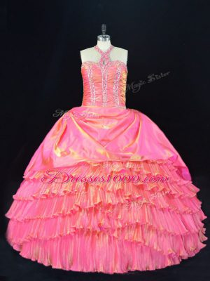 Pink Halter Top Neckline Beading and Ruffled Layers Quinceanera Dresses Sleeveless Lace Up