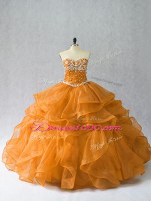 Charming Beading and Ruffles Sweet 16 Dress Orange Lace Up Sleeveless Floor Length