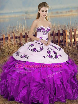 Exceptional White And Purple Lace Up Sweetheart Embroidery and Ruffles and Bowknot Quinceanera Dresses Organza Sleeveless